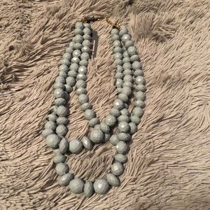 Gray Beaded Layered Necklace